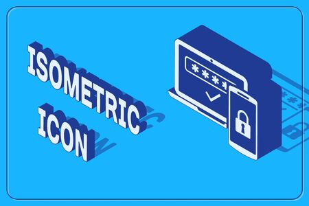 Isometric Multi factor, two steps authentication icon isolated on blue background. Vector Illustration