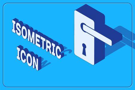 Isometric Door handle icon isolated on blue background. Door lock sign. Vector Illustration