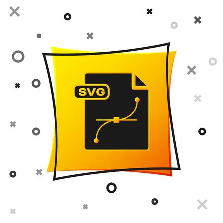 Black SVG file document. Download svg button icon isolated on white background. SVG file symbol. Yellow square button. Vector Illustration  イラスト・ベクター素材