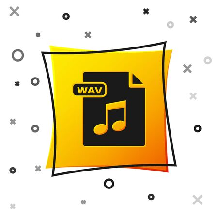 Black WAV file document. Download wav button icon isolated on white background. WAV waveform audio file format for digital audio riff files. Yellow square button. Vector Illustration Stock Illustratie