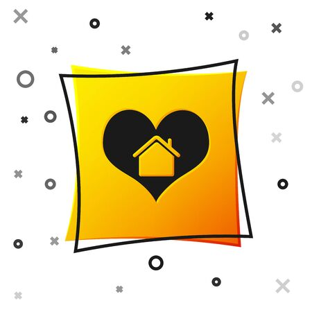 Black House with heart shape icon isolated on white background. Love home symbol. Family, real estate and realty. Yellow square button. Vector Illustration