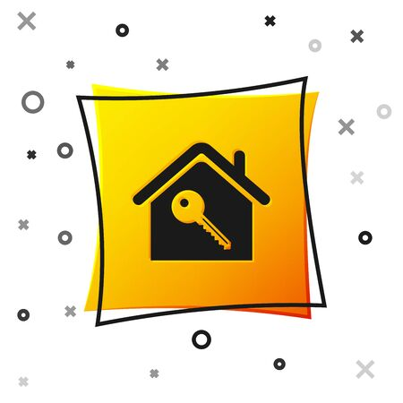 Black House with key icon isolated on white background. The concept of the house turnkey. Yellow square button. Vector Illustration