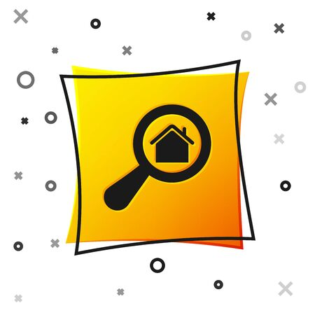 Black Search house icon isolated on white background. Real estate symbol of a house under magnifying glass. Yellow square button. Vector Illustration