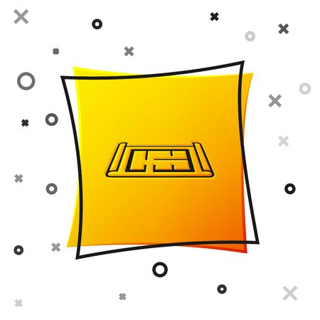Black House plan icon isolated on white background. Yellow square button. Vector Illustration Ilustrace