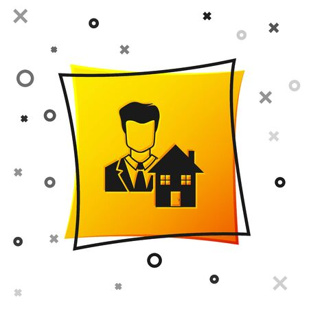 Black Realtor icon isolated on white background. Buying house. Yellow square button. Vector Illustration