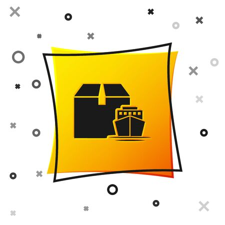 Black Cargo ship with boxes delivery service icon isolated on white background. Delivery, transportation. Freighter with parcels, boxes, goods. Yellow square button. Vector Illustration