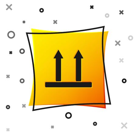 Black This side up icon isolated on white background. Two arrows indicating top side of packaging. Cargo handled so these arrows always point up. Yellow square button. Vector Illustration