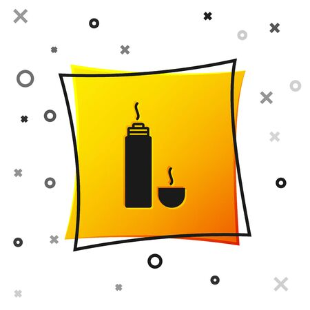 Black Thermos container icon isolated on white background. Thermo flask icon. Camping and hiking equipment. Yellow square button. Vector Illustration