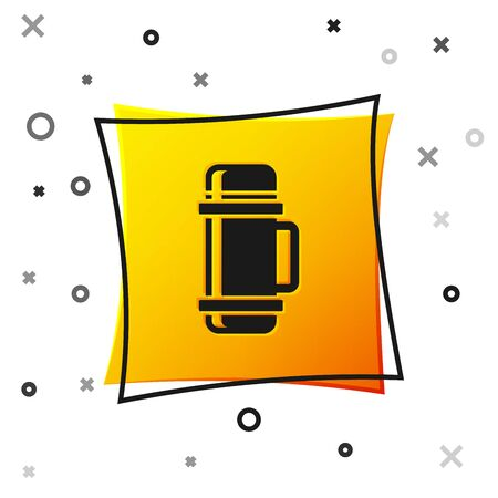 Black Thermo container icon isolated on white background. Thermo flask icon. Camping and hiking equipment. Yellow square button. Vector Illustration 向量圖像