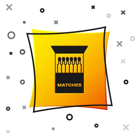 Black Open matchbox and matches icon isolated on white background. Yellow square button. Vector Illustration Ilustração