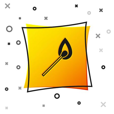 Black Burning match with fire icon isolated on white background. Match with fire. Matches sign. Yellow square button. Vector Illustration