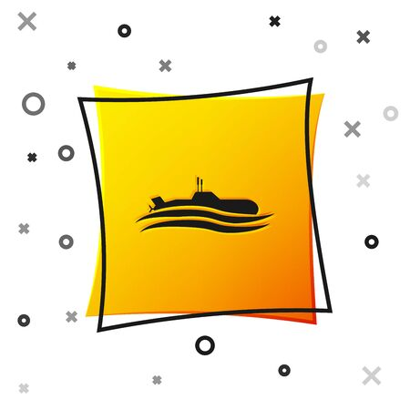 Black Submarine icon isolated on white background. Military ship. Yellow square button. Vector Illustration