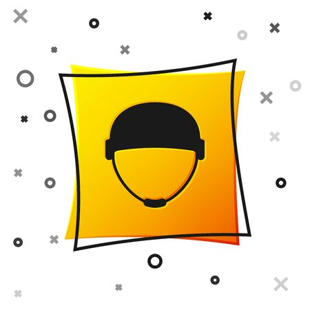 Black Military helmet icon isolated on white background. Army hat symbol of defense and protect. Protective hat. Yellow square button. Vector Illustration