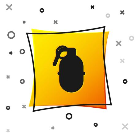 Black Hand grenade icon isolated on white background. Bomb explosion. Yellow square button. Vector Illustration Çizim