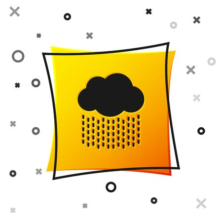 Black Cloud with rain icon isolated on white background. Rain cloud precipitation with rain drops. Yellow square button. Vector Illustration