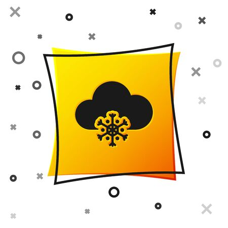 Black Cloud with snow icon isolated on white background. Cloud with snowflakes. Single weather icon. Snowing sign. Yellow square button. Vector Illustration