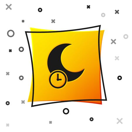 Black Sleeping moon icon isolated on white background. Yellow square button. Vector Illustration