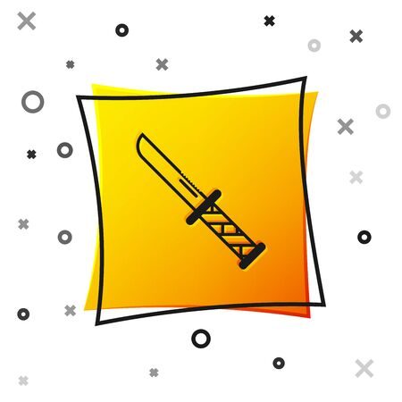 Black Military knife icon isolated on white background. Yellow square button. Vector Illustration Çizim