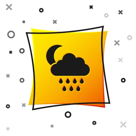 Black Cloud with rain and moon icon isolated on white background. Rain cloud precipitation with rain drops. Yellow square button. Vector Illustration 向量圖像