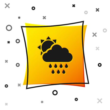 Black Cloud with rain and sun icon isolated on white background. Rain cloud precipitation with rain drops. Yellow square button. Vector Illustration