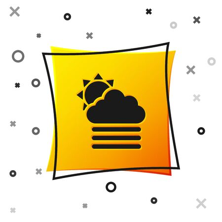 Black Fog and cloud with sun icon isolated on white background. Yellow square button. Vector Illustration