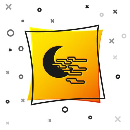 Black Fog and moon icon isolated on white background. Yellow square button. Vector Illustration