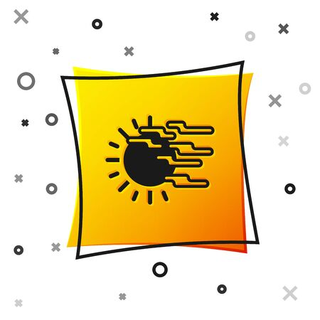 Black Fog and sun icon isolated on white background. Yellow square button. Vector Illustration