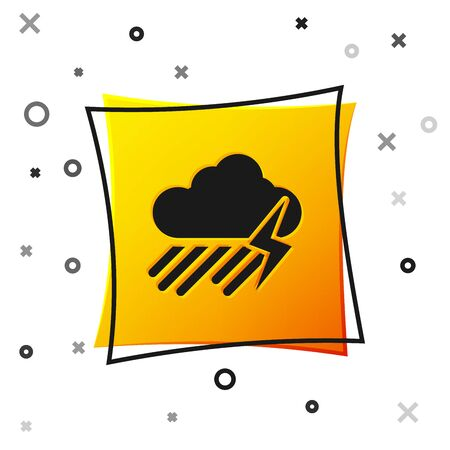 Black Cloud with rain and lightning icon isolated on white background. Rain cloud precipitation with rain drops.Weather icon of storm. Yellow square button. Vector Illustration Illusztráció