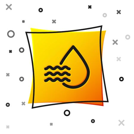 Black Water drop percentage icon isolated on white background. Humidity analysis. Yellow square button. Vector Illustration