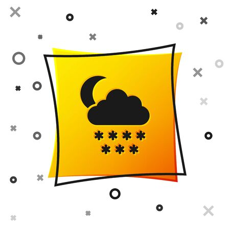 Black Cloud with snow and moon icon isolated on white background. Cloud with snowflakes. Single weather icon. Snowing sign. Yellow square button. Vector Illustration