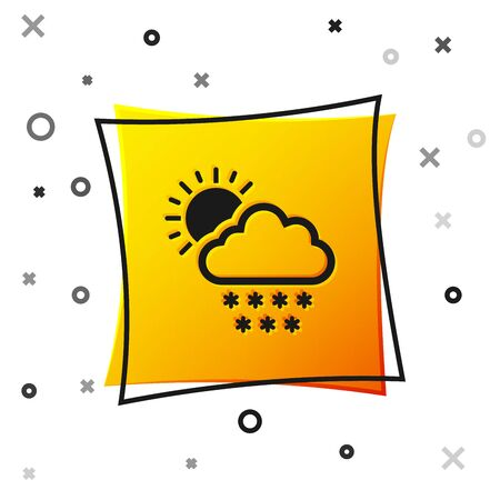 Black Cloud with snow and sun icon isolated on white background. Cloud with snowflakes. Single weather icon. Snowing sign. Yellow square button. Vector Illustration 向量圖像