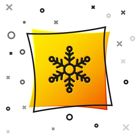 Black Snowflake icon isolated on white background. Yellow square button. Vector Illustration