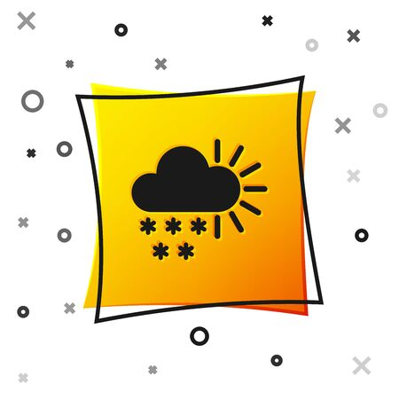 Black Cloudy with snow icon isolated on white background. Cloud with snowflakes. Single weather icon. Snowing sign. Yellow square button. Vector Illustration 向量圖像