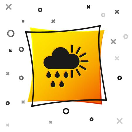 Black Cloudy with rain and sun icon isolated on white background. Rain cloud precipitation with rain drops. Yellow square button. Vector Illustration 向量圖像
