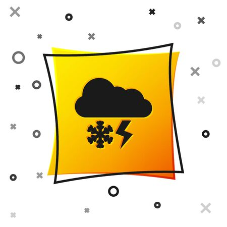 Black Cloud with snow and lightning icon isolated on white background. Cloud with snowflakes. Single weather icon. Snowing sign. Yellow square button. Vector Illustration