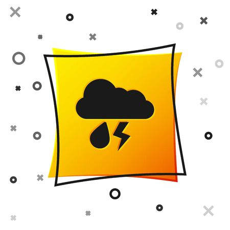 Black Cloud with rain and lightning icon isolated on white background. Rain cloud precipitation with rain drops.Weather icon of storm. Yellow square button. Vector Illustration 向量圖像
