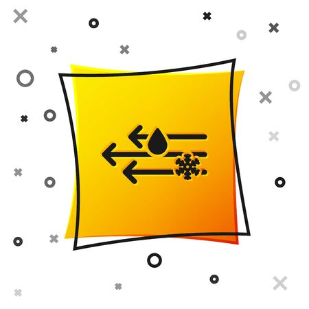 Black Wind and rain with snow icon isolated on white background. Windy weather. Yellow square button. Vector Illustration