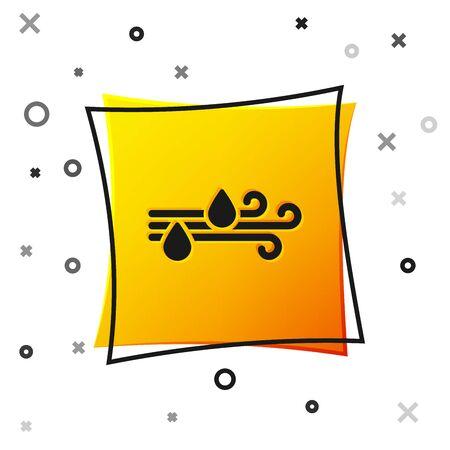 Black Wind and rain icon isolated on white background. Windy weather. Yellow square button. Vector Illustration Vektoros illusztráció