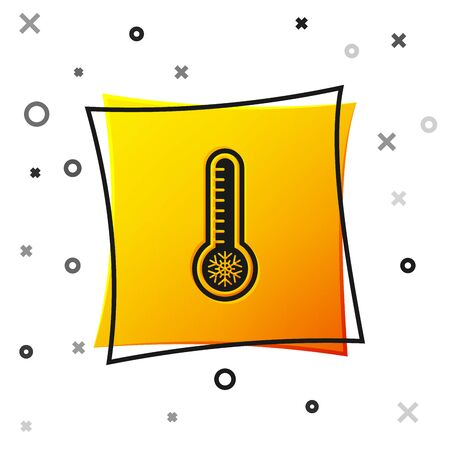 Black Meteorology thermometer measuring heat and cold icon isolated on white background. Thermometer equipment showing hot or cold weather. Yellow square button. Vector Illustration Illusztráció
