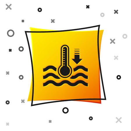 Black Water thermometer measuring heat and cold icon isolated on white background. Thermometer equipment showing hot or cold weather. Yellow square button. Vector Illustration