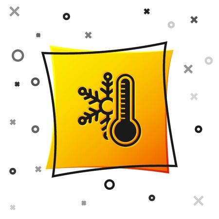 Black Thermometer with snowflake icon isolated on white background. Yellow square button. Vector Illustration