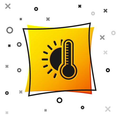 Black Thermometer with sun icon isolated on white background. Yellow square button. Vector Illustration