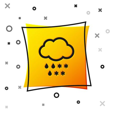 Black Cloud with snow and rain icon isolated on white background. Weather icon. Yellow square button. Vector Illustration