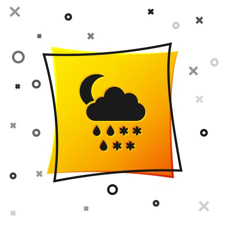 Black Cloud with snow, rain and moon icon isolated on white background. Weather icon. Yellow square button. Vector Illustration 向量圖像