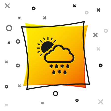 Black Cloud with snow, rain and sun icon isolated on white background. Weather icon. Yellow square button. Vector Illustration