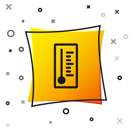 Black Meteorology thermometer measuring heat and cold icon isolated on white background. Thermometer equipment showing hot or cold weather. Yellow square button. Vector Illustration 向量圖像