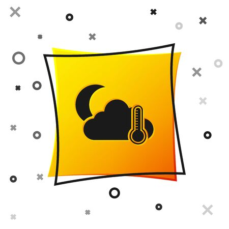 Black Thermometer and cloud with moon icon isolated on white background. Yellow square button. Vector Illustration 向量圖像