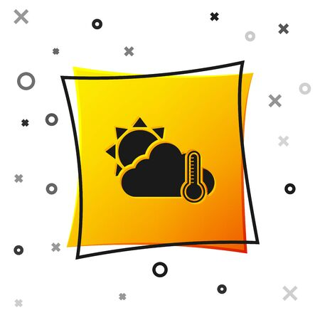 Black Thermometer and cloud with sun icon isolated on white background. Yellow square button. Vector Illustration