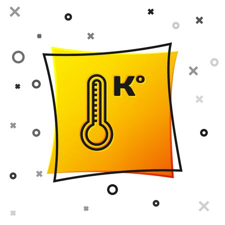 Black Meteorology thermometer measuring heat and cold icon isolated on white background. Temperature Kelvin. Yellow square button. Vector Illustration