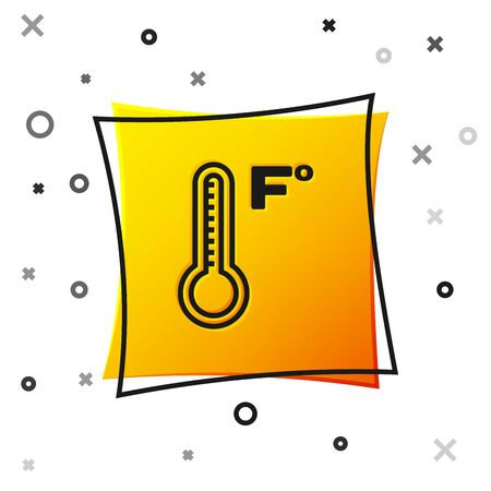 Black Meteorology thermometer measuring heat and cold icon isolated on white background. Temperature Fahrenheit. Yellow square button. Vector Illustration
